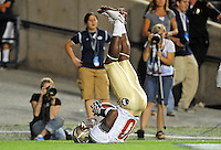 Sept. 19, 2009; Provo, UT, USA; Florida State Seminoles wide receiver (80) Jarmon Fortson scores a touchdown in the fourth quarter against the BYU Cougars at LaVell Edwards Stadium. Florida State defeated BYU 54-28. Mandatory Credit: Mark J. Rebilas-
