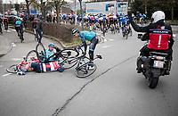 early race crash involving Emīls Liepiņš (LAT/Trek - Segafredo), Bert de Backer (BEL/B&B - Vital Concept) & Dmitriy Gruzdev (KAZ/Astana)<br /> <br /> 72nd Kuurne-Brussel-Kuurne 2020 (1.Pro)<br /> Kuurne to Kuurne (BEL): 201km<br /> <br /> ©kramon