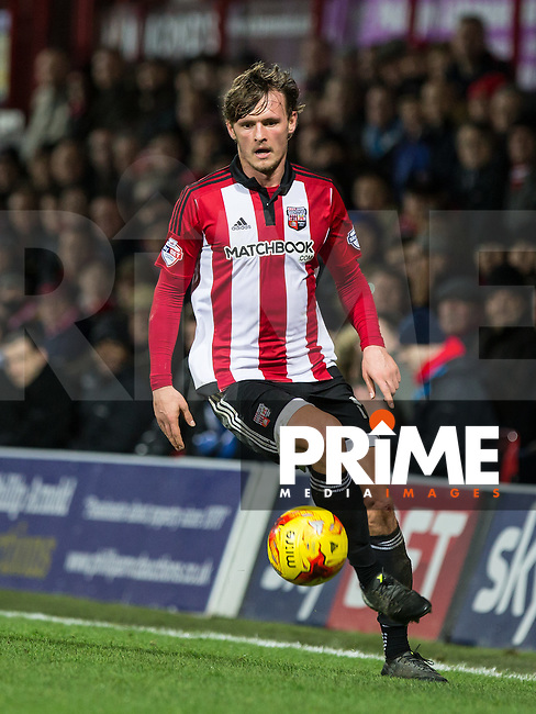 John Swift of Brentford in action during the Sky Bet Championship match between Brentford and Leeds United at Griffin Park, London, England on 26 January 2016. Photo by Andy Rowland / PRiME Media Images.