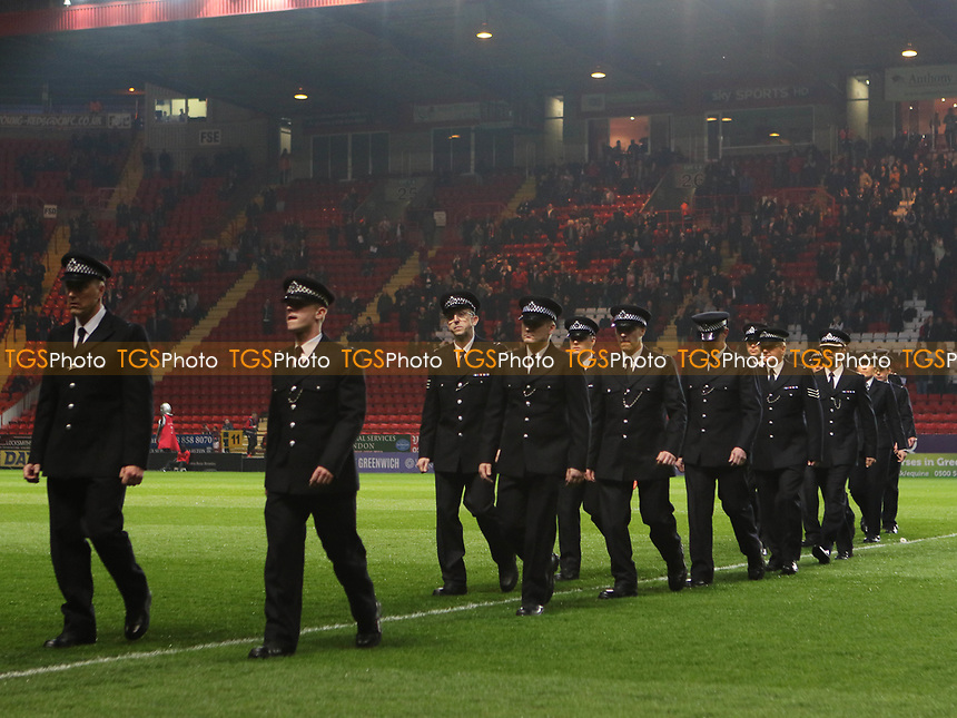 22 members of the police force paid tribute to their former colleague, PC Keith Palmer, a lifelong Charlton fan during Charlton Athletic vs MK Dons, Sky Bet EFL League 1 Football at The Valley on 4th April 2017