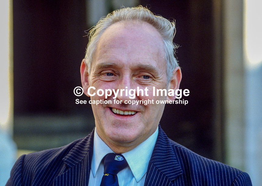 Alfie Ferguson, Lord Mayor, Belfast, Unionist Party, 19850024AF2..Copyright Image from Victor Patterson, 54 Dorchester Park, Belfast, UK, BT9 6RJ..Tel: +44 28 9066 1296.Mob: +44 7802 353836.Voicemail +44 20 8816 7153.Skype: victorpattersonbelfast.Email: victorpatterson@mac.com.Email: victorpatterson@ireland.com (back-up)..IMPORTANT: If you wish to use this image or any other of my images please go to www.victorpatterson.com and click on the Terms & Conditions. Then contact me by email or phone with the reference number(s) of the image(s) concerned.