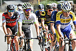 The breakaway group in action during the 104th edition of La Doyenne, Liege-Bastogne-Liege 2018 running 258.5km from Liege to Ans, Belgium. 22nd April 2018.<br /> Picture: ASO/Karen Edwards | Cyclefile<br /> <br /> <br /> All photos usage must carry mandatory copyright credit (&copy; Cyclefile | ASO/Karen Edwards)
