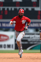 Washington Nationals third baseman Ian Stewart (10) runs the bases after hitting a home run during a Spring Training game against the Detroit Tigers on March 22, 2015 at Joker Marchant Stadium in Lakeland, Florida.  The game ended in a 7-7 tie.  (Mike Janes/Four Seam Images)