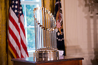 Washington DC, July 21 2016, USA- The World Series trophy is on display before President Barack Obama welcomes the Kansas City Royals to the White House to honor the team and their 2015 World Series victory. This visit will continue the tradition begun by President Obama of honoring sports teams for their efforts to give back to their communities.  Patsy Lynch/MediaPunch