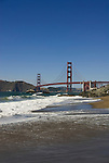 San Francisco: Baker Beach with Golden Gate Bridge in background.  Photo # 2-casanf83369.  Photo copyright Lee Foster