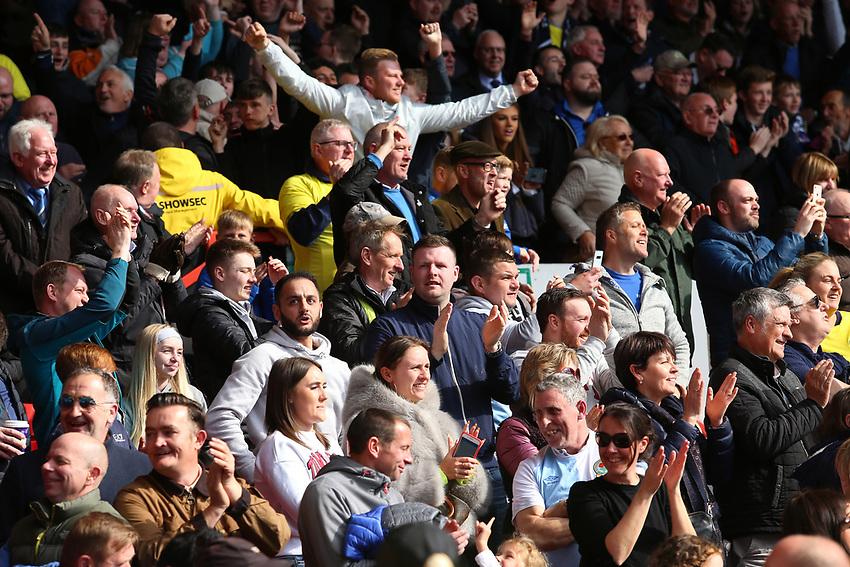 Blackburn Rovers fans enjoy the atmosphere inside the City Ground<br /> <br /> Photographer David Shipman/CameraSport<br /> <br /> The EFL Sky Bet Championship - Nottingham Forest v Blackburn Rovers - Saturday 13th April 2019 - The City Ground - Nottingham<br /> <br /> World Copyright © 2019 CameraSport. All rights reserved. 43 Linden Ave. Countesthorpe. Leicester. England. LE8 5PG - Tel: +44 (0) 116 277 4147 - admin@camerasport.com - www.camerasport.com