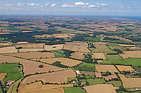 Aerial of summer farmland over North Norfolk, UK