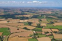 Aerial of summer farmland over North Norfolk, UK