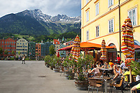 Sidewalk cafe, Innsbruck Austria, old town,  Nordkette Mountain, Inn Valley