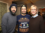 Judges: Josh Groban, Lin-Manuel Miranda and Cate Blanchett during the cast of 'Hamilton' 2016 Door Decorating Competition at Richard Rodgers Theatre on December 23, 2016 in New York City.