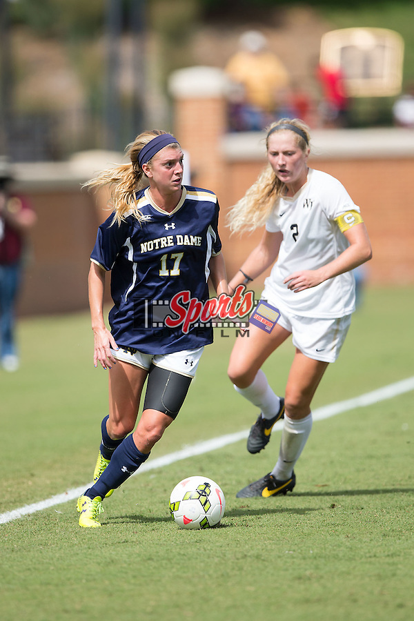 Taylor Schneider (17) of the Notre Dame Fighting Irish controls the ball during first half action against the Wake Forest Demon Deacons at Spry Soccer Stadium on September 28, 2014 in Winston-Salem, North Carolina.  The Fighting Irish defeated the Demon Deacons 1-0.   (Brian Westerholt/Sports On Film)
