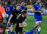 Damien McKenzie (left) congratulates Jordie Barrett on his second try during the Steinlager Series international rugby match between the New Zealand All Blacks and France at Westpac Stadium in Wellington, New Zealand on Saturday, 16 June 2018. Photo: Dave Lintott / lintottphoto.co.nz
