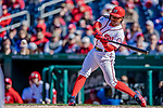 5 April 2018: Washington Nationals infielder Wilmer Difo in action against the New York Mets at Nationals Park in Washington, DC. The Mets defeated the Nationals 8-2 in the first game of their 3-game series. Mandatory Credit: Ed Wolfstein Photo *** RAW (NEF) Image File Available ***