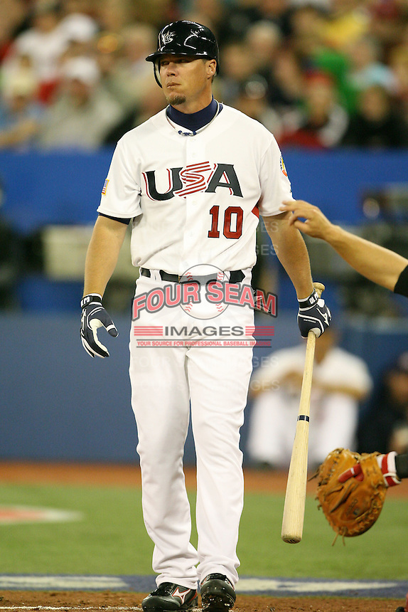 March 7, 2009:  Third baseman Chipper Jones (10) of Team USA during the first round of the World Baseball Classic at the Rogers Centre in Toronto, Ontario, Canada.  Team USA defeated Canada 6-5 in both teams opening game of the tournament.  Photo by:  Mike Janes/Four Seam Images