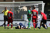 Alex Iacovitti of Scotland collides with goalkeeper, Ross Doohan and awaits the trainer during Czech Republic Under-20 vs Scotland Under-20, Toulon Tournament Football at Stade de Lattre-de-Tassigny on 10th June 2017