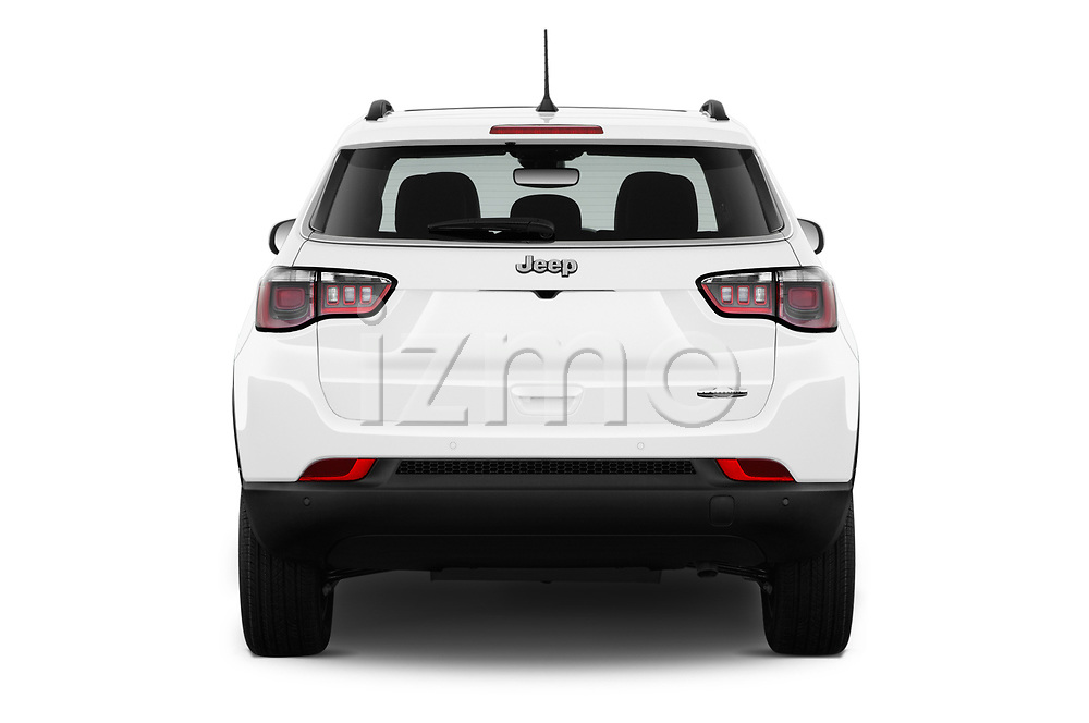Straight rear view of a 2017 Jeep Compass Latitude 5 Door SUV stock images