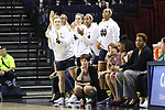 CHARLOTTESVILLE, VA - FEBRUARY 15: Notre Dame players on the bench behind head coach Muffet McGraw react to a basket by a teammate. The University of Virginia Cavaliers hosted the University of Notre Dame Fighting Irish on February 15, 2018 at John Paul Jones Arena in Charlottesville, VA in a Division I women's college basketball game. Notre Dame won the game 83-69.