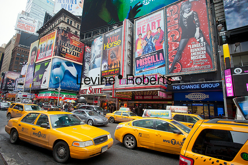 Advertising in Times Square in New York for Broadway plays and musicals is seen on Sunday, January 22, 2012. ( © Richard B. Levine)
