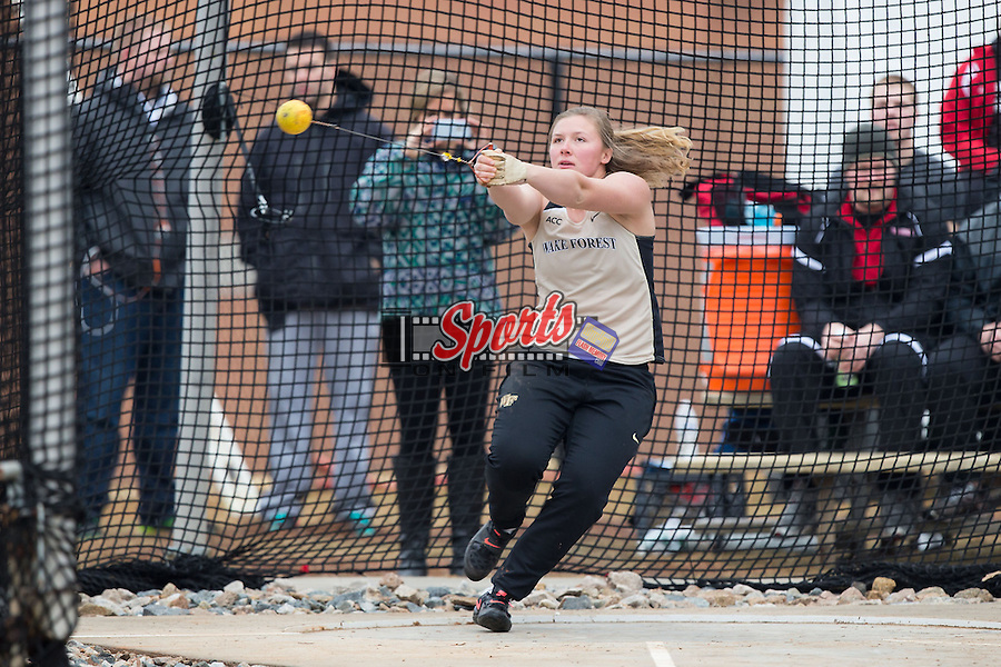 Casidy Callahan of the Wake Forest Demon Deacons competes in the women's hammer throw at the Wake Forest Open on March 20, 2015 in Winston-Salem, North Carolina.  (Brian Westerholt/Sports On Film)