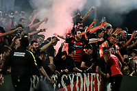 28th February 2020; Netstrata Jubilee Stadium, Sydney, New South Wales, Australia; A League Football, Sydney FC versus Western Sydney Wanderers; flares are let off amongst the RBB fans of Western Sydney