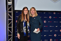 Los Angeles, CA - Thursday January 12, 2017: Katie Johnson, Managing Director of Operations Amanda Duffy during the 2017 NWSL College Draft at JW Marriott Hotel.