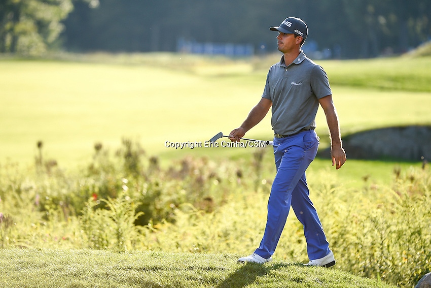 September 1, 2014 -  Norton, Mass. - Billy Horschel walks to the 18th green during the fourth round of the PGA FedEx Cup playoffs, Deutsche Bank Championship, held at the Tournament Players Club in Norton Massachusetts. Eric Canha/CSM