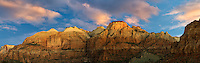 Panoramic of mountains and sunset clouds. Zion National Park, Utah