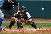 Montgomery Biscuits catcher Justin O'Conner (5) waits for a pitch during a game against the Tennessee Smokies on May 25, 2015 at Riverwalk Stadium in Montgomery, Alabama.  Tennessee defeated Montgomery 6-3 as the game was called after eight innings due to rain.  (Mike Janes/Four Seam Images)