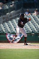 San Jose Giants designated hitter Jean Angomas (46) during a California League game against the Stockton Ports on April 9, 2019 in Stockton, California. San Jose defeated Stockton 4-3. (Zachary Lucy/Four Seam Images)