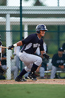 GCL Yankees 2 catcher Eduardo Navas (79) at bat during the first game of a doubleheader against the GCL Pirates on July 31, 2015 at the Pirate City in Bradenton, Florida.  GCL Pirates defeated the GCL Yankees 2 2-1.  (Mike Janes/Four Seam Images)