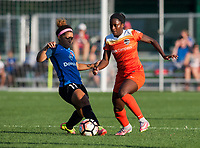 Kansas City, MO - Sunday July 02, 2017:  Nichelle Prince plays the ball past Desiree Scott during a regular season National Women's Soccer League (NWSL) match between FC Kansas City and the Houston Dash at Children's Mercy Victory Field.