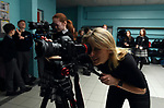 Meike Van Mechelen, Filmaker in Residence at Kerry County Council pictured recording a movie with students at Killarney Community College, Killarney this week.<br />