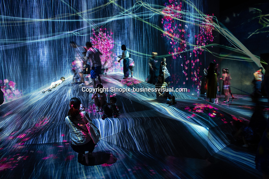 """The Borderless World"" in Team Lab's Borderless digital museum in Tokyo, Japan, July, 2019. The digital museum is one of Tokyo's most popular attractions and uses innovative digital audio-visual displays."