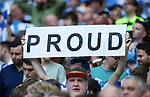 Huddersfield's fans with a proud banner during the Championship Play-Off Final match at Wembley Stadium, London. Picture date: May 29th, 2017. Pic credit should read: David Klein/Sportimage