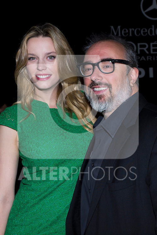 01.09.2012. Celebrities attending the AA de Amaya Arzuaga fashion show during the Mercedes-Benz Fashion Week Madrid Spring/Summer 2013 at Ifema. In the image Alex de la Iglesia  and Carolina Bang (Alterphotos/Marta Gonzalez)