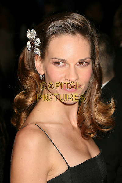 HILARY SWANK.Paramount - DreamWorks Official Golden Globes After Party at The Beverly Hilton Hotel, Beverly Hills, California, USA..January 15t, 2007.headshot portrait diamond flower hair accessory clip.CAP/ADM/BP.©Byron Purvis/AdMedia/Capital Pictures