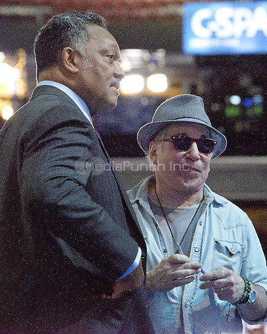 Singer and songwriter Paul Simon and the Reverend Jesse Jackson, Sr. prior to the start of the 2016 Democratic National Convention held at the Wells Fargo Center in Philadelphia, Pennsylvania on Sunday, July 24, 2016.<br /> Credit: Ron Sachs / CNP/MediaPunch<br /> (RESTRICTION: NO New York or New Jersey Newspapers or newspapers within a 75 mile radius of New York City)