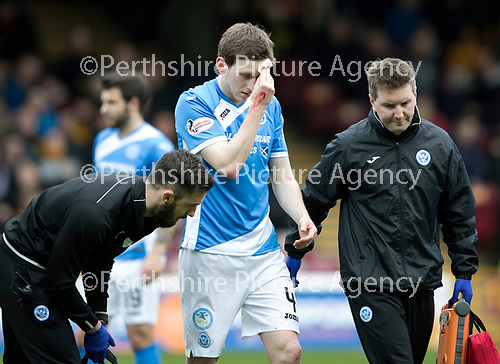 Motherwell v St Johnstone…18.03.17     SPFL    Fir Park<br />Blair Alston leaves the pitch with a cut to the head<br />Picture by Graeme Hart.<br />Copyright Perthshire Picture Agency<br />Tel: 01738 623350  Mobile: 07990 594431
