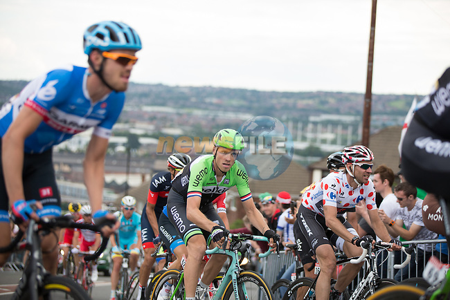 Riders including Lars Boom (NED) Belkin and Polka Dot Jersey holder Jens Voigt (GER) Trek struggle up Jenkin Road in Sheffield near the end of Stage 2 of the 2014 Tour de France running 200km from York to Sheffield. 6th July 2014.<br /> Picture: Jim Fryer/BrakeThrough Media/www.newsfile.ie