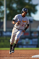 West Virginia Black Bears center fielder Sandy Santos (27) running the bases during a game against the Batavia Muckdogs on August 21, 2016 at Dwyer Stadium in Batavia, New York.  West Virginia defeated Batavia 6-5.  (Mike Janes/Four Seam Images)