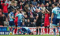 Referee Charles Breakspear sends off Tom Parkes of Leyton Orient during the Sky Bet League 2 match between Leyton Orient and Wycombe Wanderers at the Matchroom Stadium, London, England on 1 April 2017. Photo by Andy Rowland.