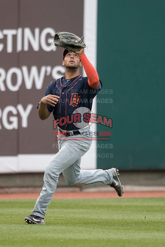 Bowling Green Hot Rods outfielder Garrett Whitley (24) tracks a fly ball during the Midwest League baseball game against the Lansing Lugnuts on June 29, 2017 at Cooley Law School Stadium in Lansing, Michigan. Bowling Green defeated Lansing 11-9 in 10 innings. (Andrew Woolley/Four Seam Images)