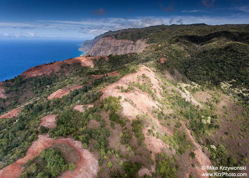 Aerial view of Waimea Canyon Ridge, Kauai