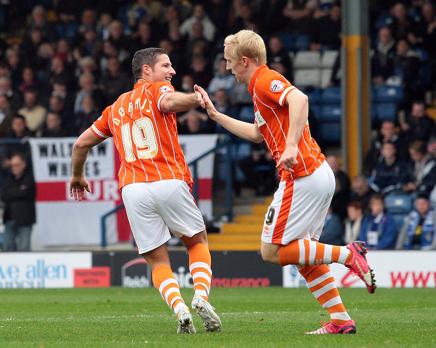 Blackpool's Mark Cullen celebrates scoring his sides first goal with team-mate  David Norris<br /> <br /> Photographer David Shipman/CameraSport<br /> <br /> Football - The Football League Sky Bet League One - Bury v Blackpool - Saturday 31st October 2015 - Gigg Lane - Bury <br /> <br /> &copy; CameraSport - 43 Linden Ave. Countesthorpe. Leicester. England. LE8 5PG - Tel: +44 (0) 116 277 4147 - admin@camerasport.com - www.camerasport.com