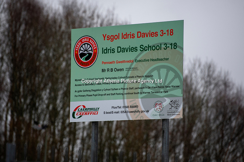 """Pictured: A general view of Idris Davies School in Abertysswg in the Rhymney Valley, south Wales, UK. Friday 18 January 2019<br /> <br /> Re: Schoolboy Troy Wheaton, 11, was left needing nine stitches in his tongue following an altercation at Idris Davies School in Abertysswg in the Rhymney Valley, south Wales, but he hasn't been back since January 14 after he was left """"bleeding and crying.""""<br /> His father Matthew Wheaton, 34, is angry because he says no one from the school let them know what had happened.<br /> Mr Wheaton was shopping with his wife Kathryn, 33, where on their way back from shopping when they received a phone call from Kathryn's mother.<br /> Mr Wheaton said: """"Kathryn's niece was in school and said something had happened with Troy and his mouth was bleeding. We had been hearing things through the family.<br /> """"We were going to ring the school when our older daughter said he had been in some sort of fight and his mouth was bleeding. Not a single person or member of staff from the school rang us."""" he added."""