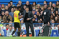 Watford Manager, Javi Gracia, consoles former Chelsea player, Nathaniel Chalobah, who now plays for Watford after he was substituted in the second half during Chelsea vs Watford, Premier League Football at Stamford Bridge on 5th May 2019