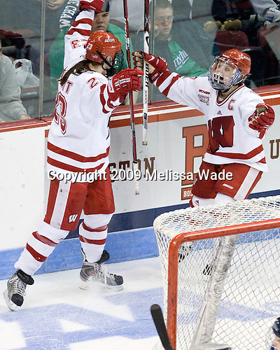 Hilary Knight (Wisconsin - 23), Erika Lawler (Wisconsin - 13) - The University of Wisconsin Badgers defeated the Mercyhurst College Lakers 5-0 to win the 2009 NCAA D1 National Championship in the Frozen Four final game at Agganis Arena, in Boston, Massachusetts, on Sunday, March 22, 2009.