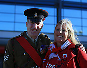 5th November 2017, Riverside Stadium, Middlesbrough, England; EFL Championship football, Middlesbrough versus Sunderland; Colour Sergeant Freeman of the Yorkshire Regiment with a Middlebrough fan outside the stadium before the match