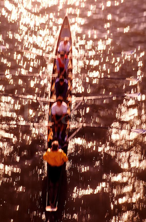 France, Paris, Seine River. Rowing crew