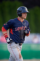 Lowell Spinners Nick Decker (21) jogs to first after being walked during a NY-Penn League game against the Batavia Muckdogs on July 10, 2019 at Dwyer Stadium in Batavia, New York.  Batavia defeated Lowell 8-6.  (Mike Janes/Four Seam Images)